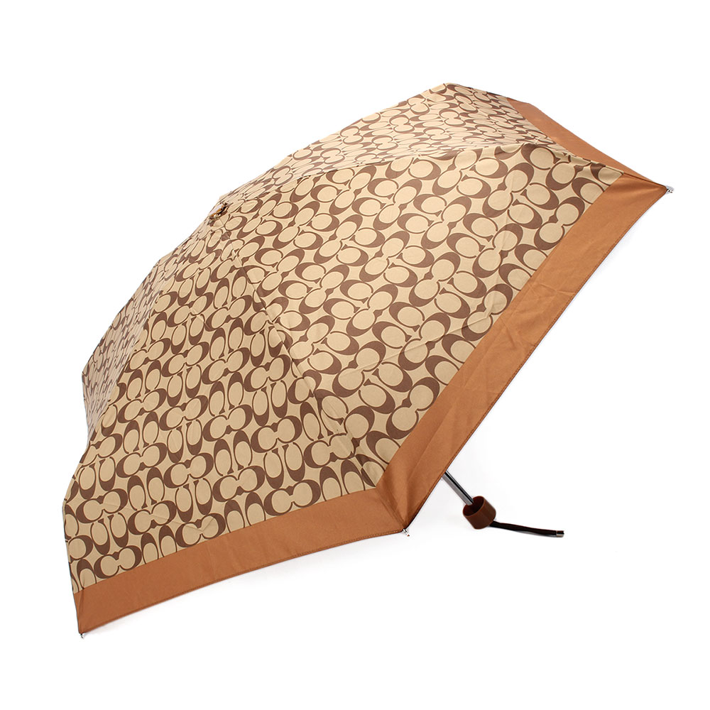 COACH 經典滿版LOGO自動晴雨傘-咖啡色