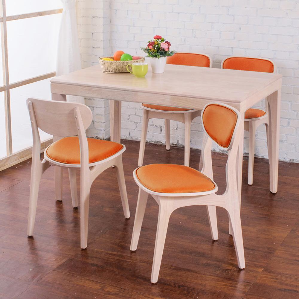 Bernice-莉亞簡約日式實木餐桌椅組(橘色-120x75x77cm