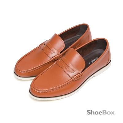 鞋櫃ShoeBox-歐風復古精選牛皮素面休閒男鞋-百搭淺棕