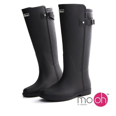 mo.oh愛雨天-皮帶扣拚色長筒雨鞋雨靴-黑色