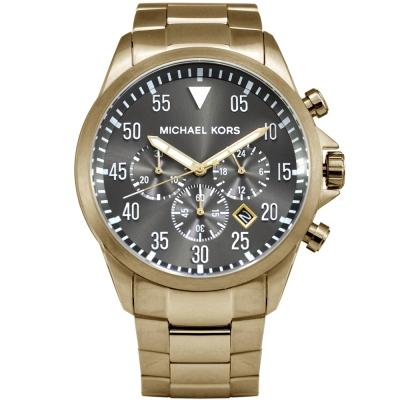 Michael Kors 簡約時尚躍動三眼計時灰面腕錶-45mm