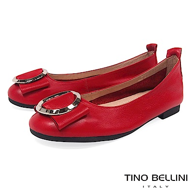 Tino Bellini 雅緻環飾真皮平底娃娃鞋_ 紅
