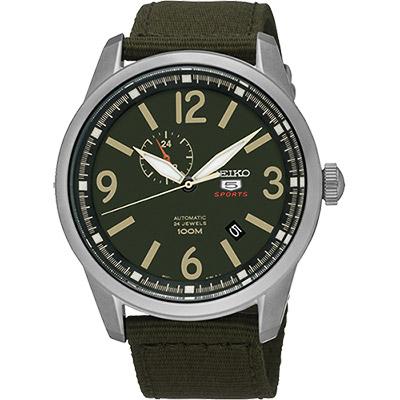 SEIKO 精工5號盾牌24石紳士風機械腕錶(SSA299J1)-軍綠/42mm