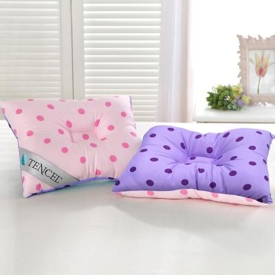 精靈工廠 頂級天絲雙色點點兒童人體工學保護枕-粉+紫