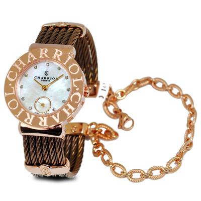 CHARRIOL St-Tropez 夏利豪咖啡金可拆式鎖鍊錶-30mm