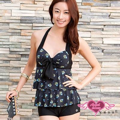 天使霓裳 夏日花朵 兩件式鋼圈泳衣(黑XL)