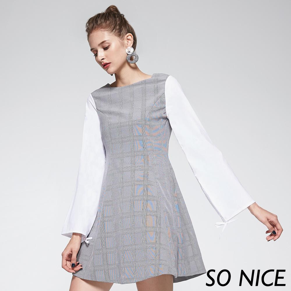 SO NICE都會格紋設計袖洋裝-動態show