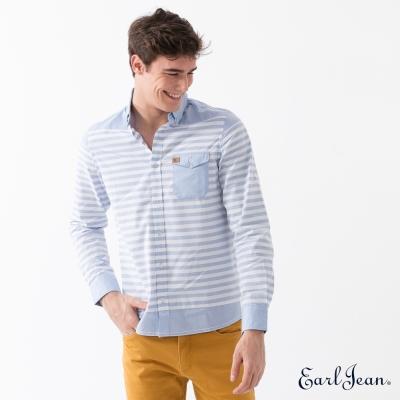 Earl Jean 絲光印條牛仔長袖襯衫-中藍-男