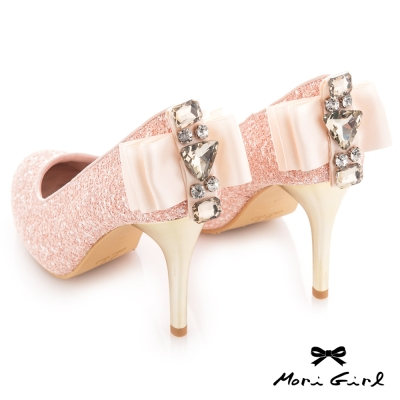 Mori girl 精緻亮片後緞面蝴蝶結水鑽高跟婚鞋 粉