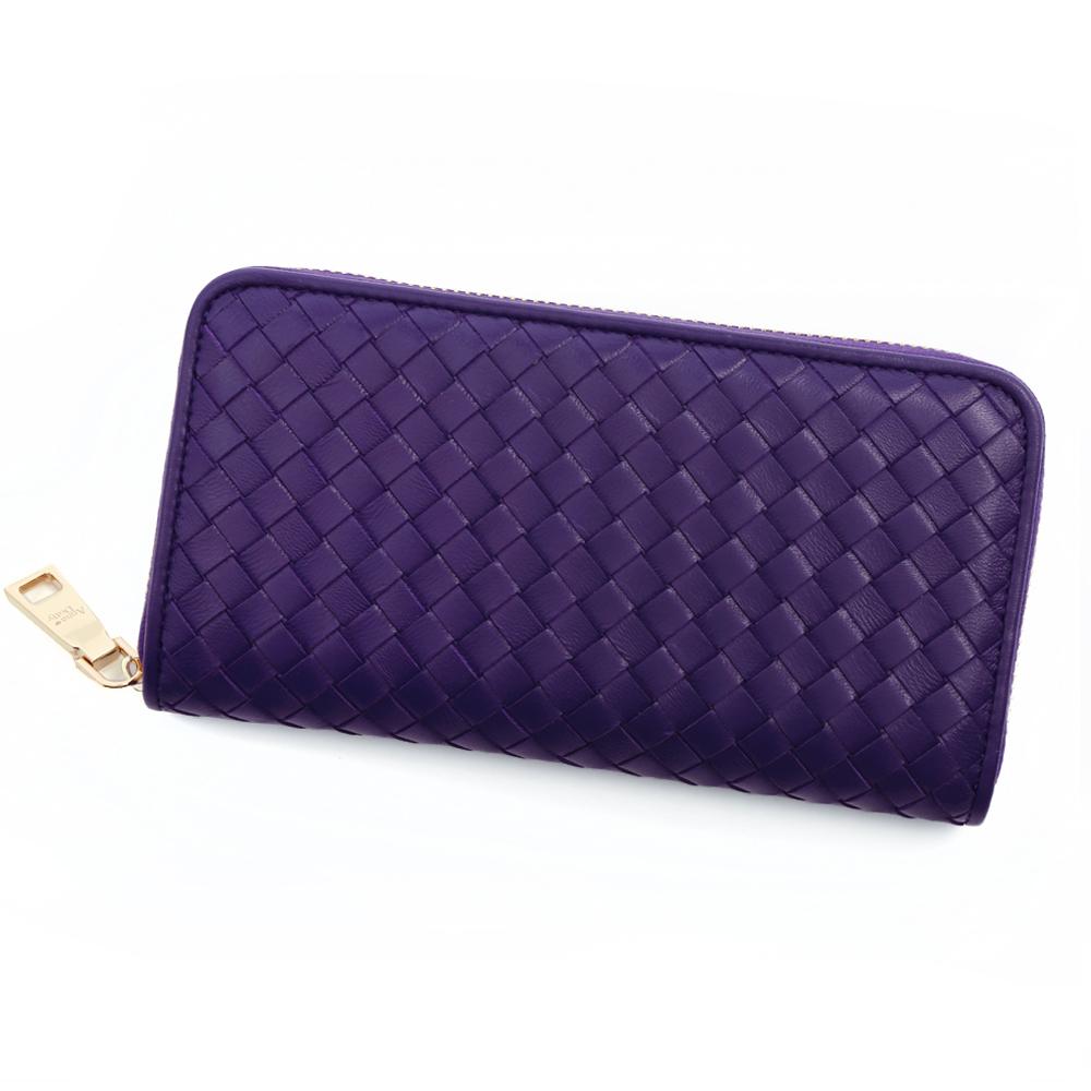 ANNA DOLLY 編織羊皮拉鍊長夾 Leather系列 星空紫