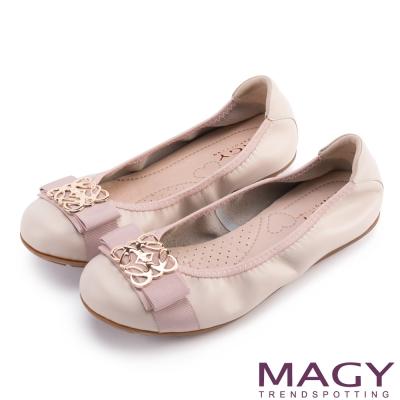 MAGY 甜美舒適 金屬造型飾扣牛皮娃娃鞋-粉紅