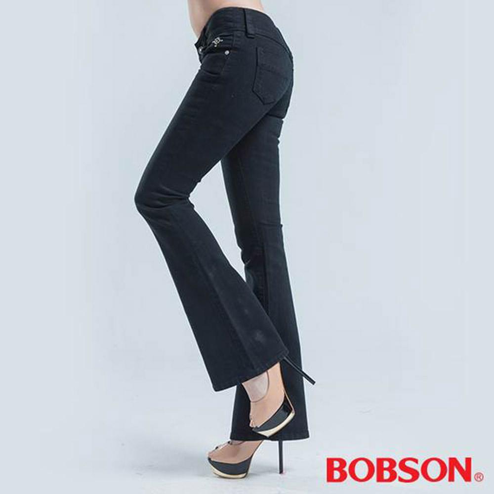 BOBSON 釘珠伸縮中喇叭褲-黑色
