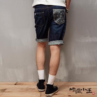 地藏小王 BLUE WAY 和繪牛仔反折布邊短褲