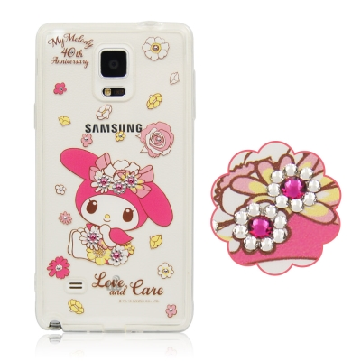 三麗鷗 Samsung Galaxy Note4 美樂蒂40週年彩鑽雙料手機殼-花雨