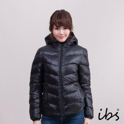ibs 極暖經典款連帽羽絨外套-黑-女