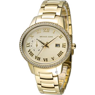 Michael Kors 漫步羅馬奢華晶鑽腕錶-金色/41x36mm