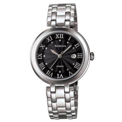 SHEEN 優雅羅馬施華洛世奇晶鑽時尚腕錶-黑/30.5mm