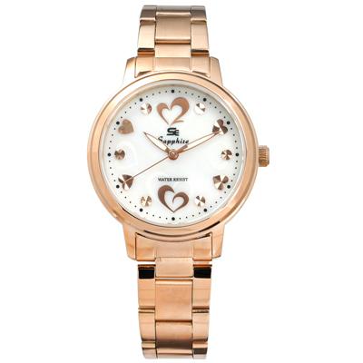 Sapphire 浪漫愛心晶鑽刻度藍寶石水晶玻璃不鏽鋼手錶-白x鍍玫瑰金/31mm