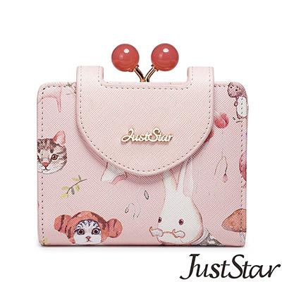 Just Star  可愛喵夢幻圖紋對折短夾  甜美粉