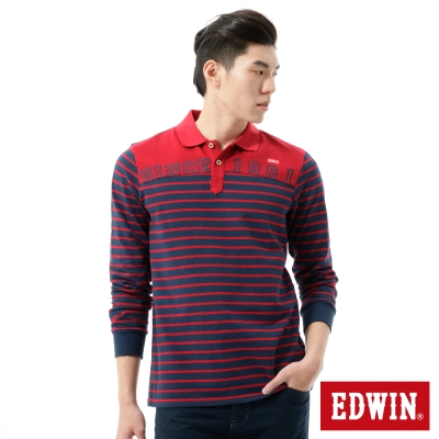 EDWIN-POLO衫-剪接條紋繡花POLO衫-男-丈青