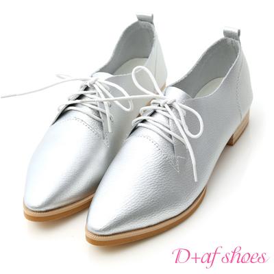 D+AF 隨性風格‧超軟皮革綁帶尖頭牛津鞋*銀