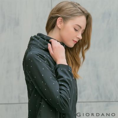 GIORDANO 女裝可拆帽防風保暖外套 - 18 標志黑/皎雪色