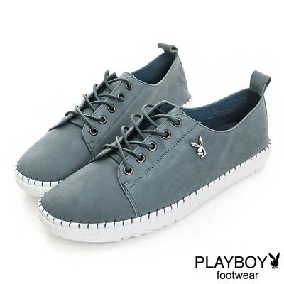 PLAYBOY 極簡時尚 素面真皮綁帶休閒鞋-藍(女)