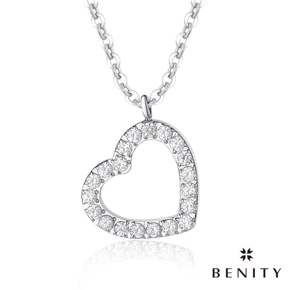 BENITY 心環 愛心設計 316白鋼/西德鋼 八心八箭cz美鑽 女項鍊