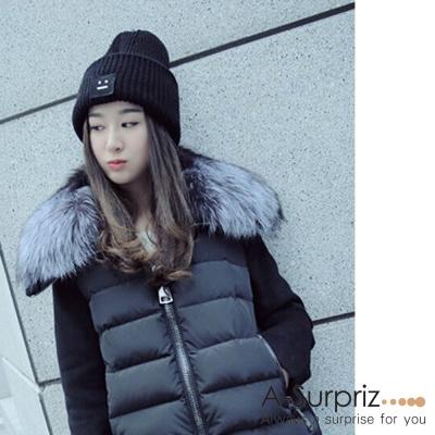 A-Surpriz-方塊笑臉加厚加大反摺毛線帽-黑