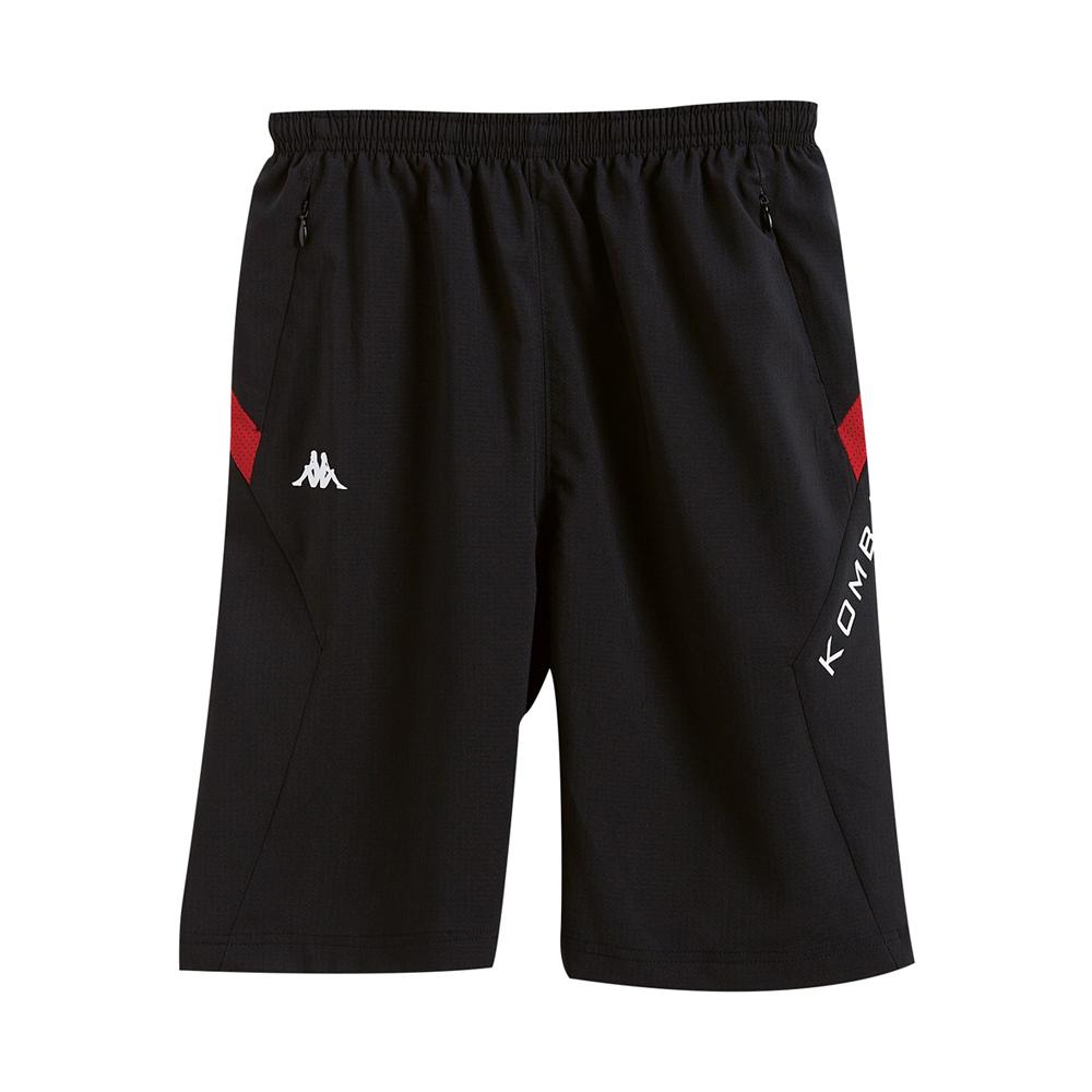 KAPPA義大利小朋友吸濕排汗速乾緯彈單層半短褲~黑 大紅