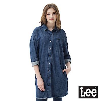Lee 牛仔襯衫寬長版設計-女款-藍