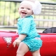 RuffleButts 小女童水藍點點款荷葉邊短袖泳衣 product thumbnail 1