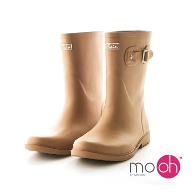 mo.oh 愛雨天-霧面橡膠柔軟搭扣中筒雨鞋-棕色