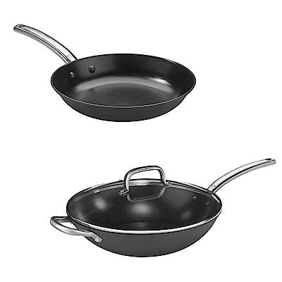 Pujadas西班牙輕量鑄鐵炒鍋(附蓋) 32cm+平底鍋28cm