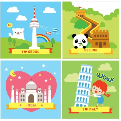 LOVIN 超萌韓版數字油畫城市系列(09-12) 4幅 20X20