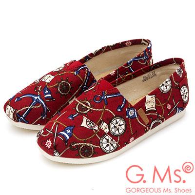 G.Ms. 海洋印花帆布懶人休閒鞋-紅色