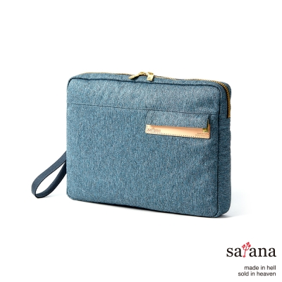 satana - 城市風尚手拿包 - 丹寧藍