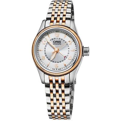 Oris豪利時 Big Crown 大表冠指針式日期女錶-銀x雙色版/29mm