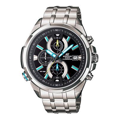 CASIO EDIFICE系列 雙黑光快感奔馳賽車運動錶-藍-46mm