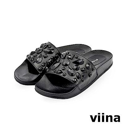 viina-璀璨寶石拖鞋-黑色