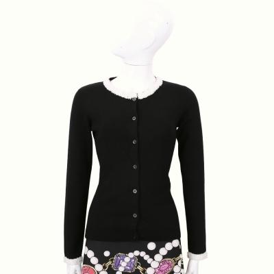 BOUTIQUE MOSCHINO 黑色皺褶蕾絲滾邊羊毛外套(100%LANA)