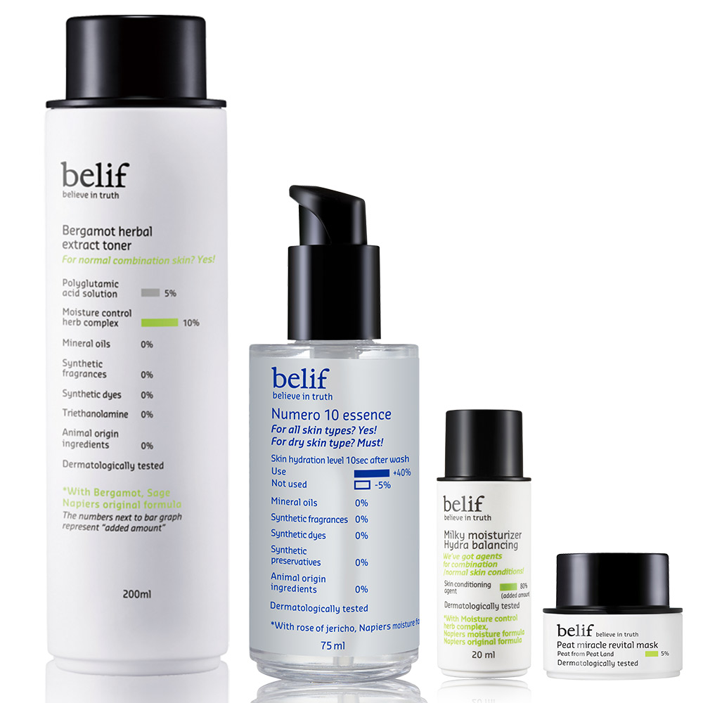 belif 含生草保濕前導精華平衡保水四入組