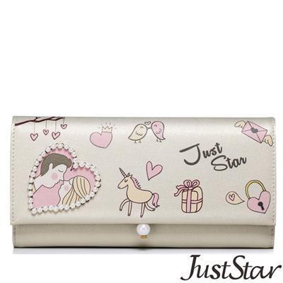 Just-Star-情人之吻圖紋珍珠長夾-香檳金