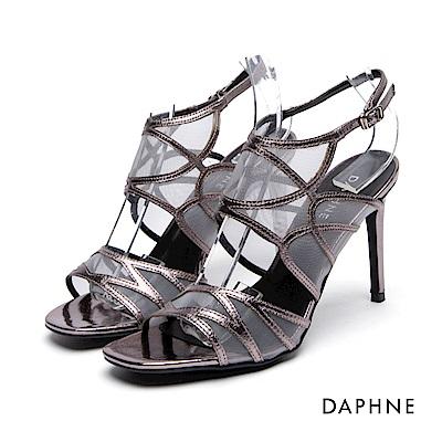 達芙妮DAPHNE 高跟鞋-細帶拼接網紗高跟涼鞋-錫