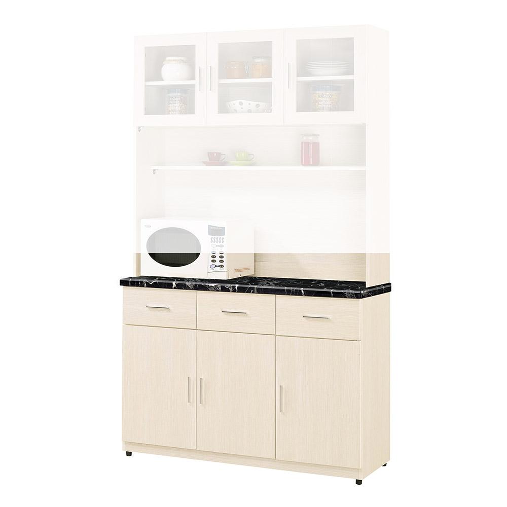 H&D 雪杉白4尺餐櫃下座 (寬121X深43X高87cm)