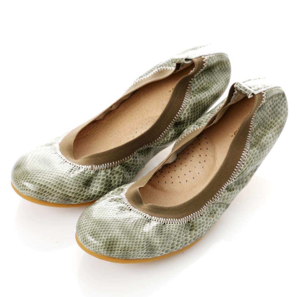 【G.Ms.】旅行女孩II‧動物紋全真皮可攜式軟Q娃娃鞋(附專屬鞋袋)‧蚚蜴綠