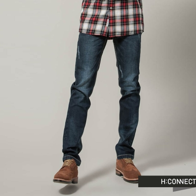 H-CONNECT-韓國品牌-男裝-破損修身單寧褲-藍
