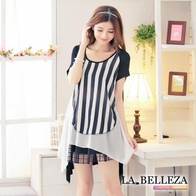 中大尺碼-假三件黑白直條拼接雪紡洋裝-La-Belleza