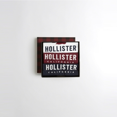 HCO Hollister 海鷗 經典刺繡標誌文字短袖T恤禮盒組-白紅深藍色