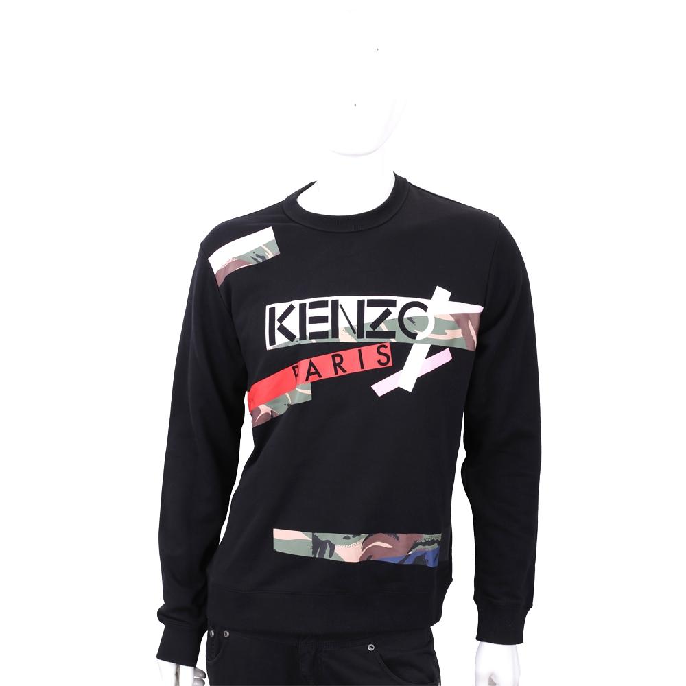 KENZO 黑色迷彩拼貼長袖厚棉T恤
